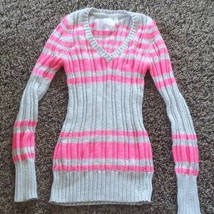 Justice girls hot pink and Gray sweater
